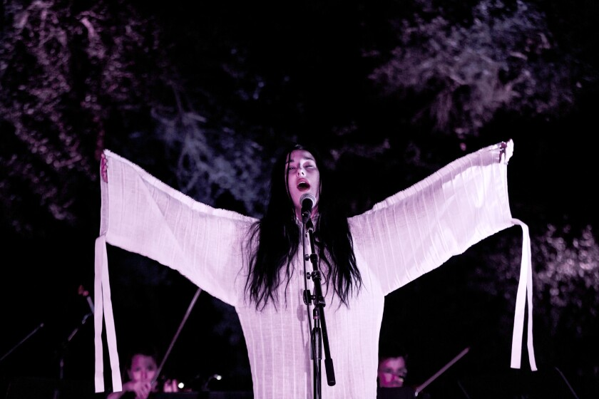 """Zola Jesus performs at Descanso Gardens, where music met nature in a new Fluxus-style concert series, """"Silence."""""""