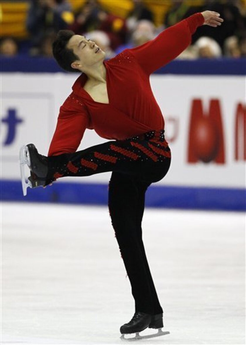 Patrick Chan of Canada performs during his Men Free skating at the ISU 2012 World Figure Skating Championships in Nice, southern France, Saturday, March 31, 2012. (AP Photo/ Francois Mori)