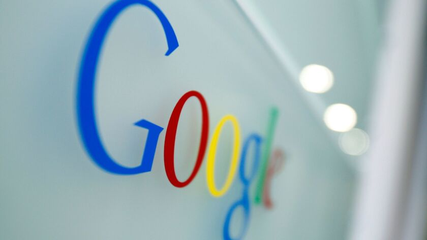 The Google logo is seen at the Google headquarters in Brussels, Tuesday March 23, 2010. European reg