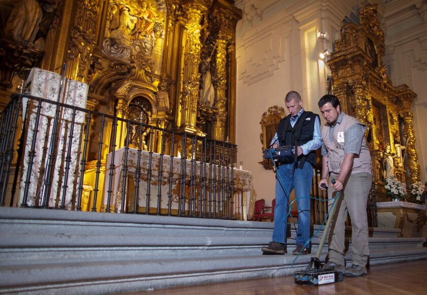 Researchers searching for the remains of Miguel de Cervantes at Convent of las Trinitarias Descalzas in Madrid.