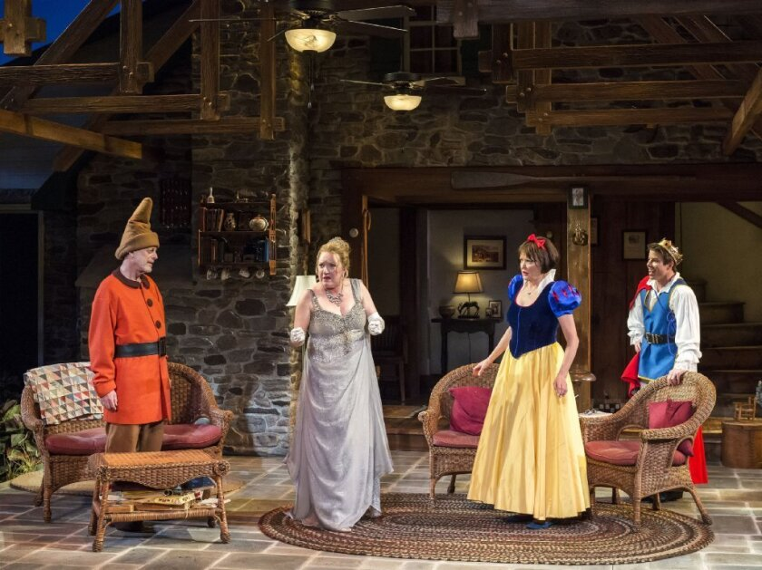 """Mark Blum, Kristine Nielsen, Christine Ebersole and David Hull in Christopher Durang's """"Vanya and Sonia and Masha and Spike"""" at the Mark Taper Forum."""