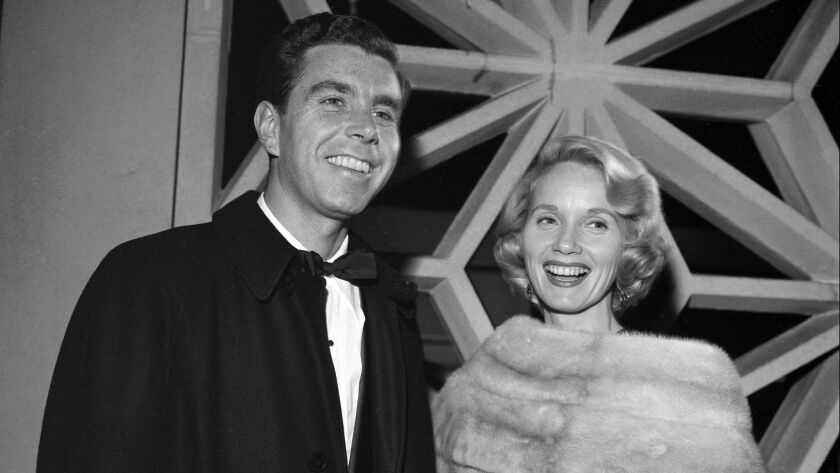 Oscar-winning Eva Marie Saint and husband Jeffrey Hayden attend an event in Los Angeles in 1959. Saint and Hayden, a film-TV-and-stage director, were married 65 years before he died in 2016.