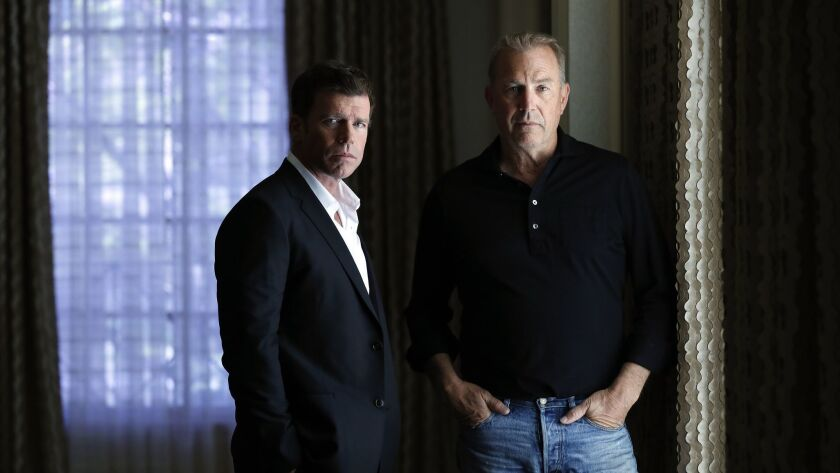 """Taylor Sheridan, left, and Kevin Costner, who stars in Sheridan's new series for the Paramount Network, """"Yellowstone,"""" photographed in Beverly Hills."""