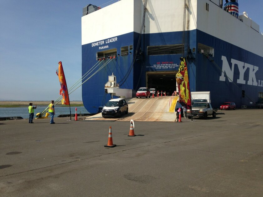 More than 350 Fiat 500L cars were delivered to the Port of San Diego in National City on July 18, 2013.