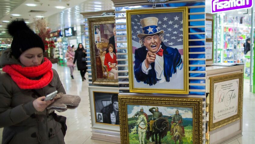 A caricature of President Trump is on sale at a shopping mall in Moscow on Feb. 15.