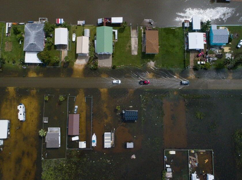 An aerial photograph of Sargent, Texas, on Wednesday