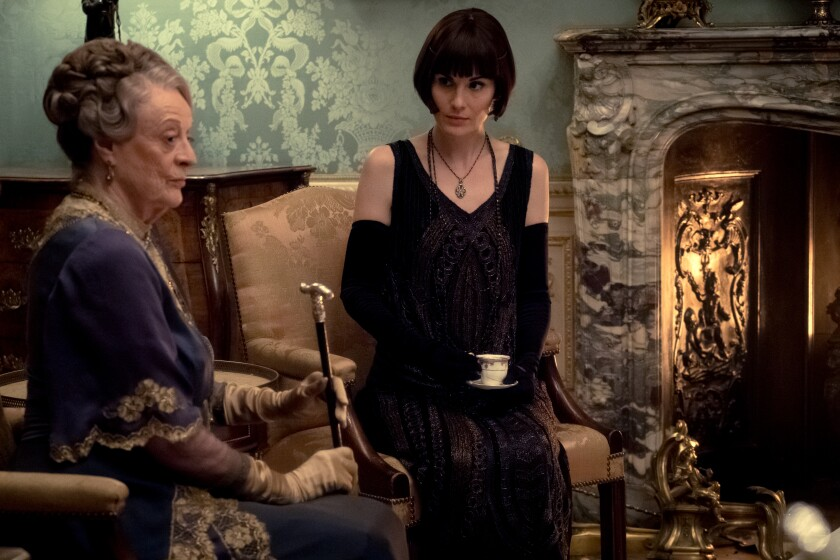 """Maggie Smith, left and Michelle Dockery in """"Downton Abbey"""" (2019)"""