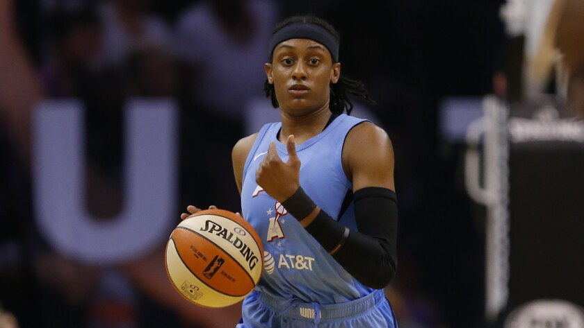 Atlanta Dream guard Brittney Sykes controls the ball during a game against the Phoenix Mercury on Aug. 16.