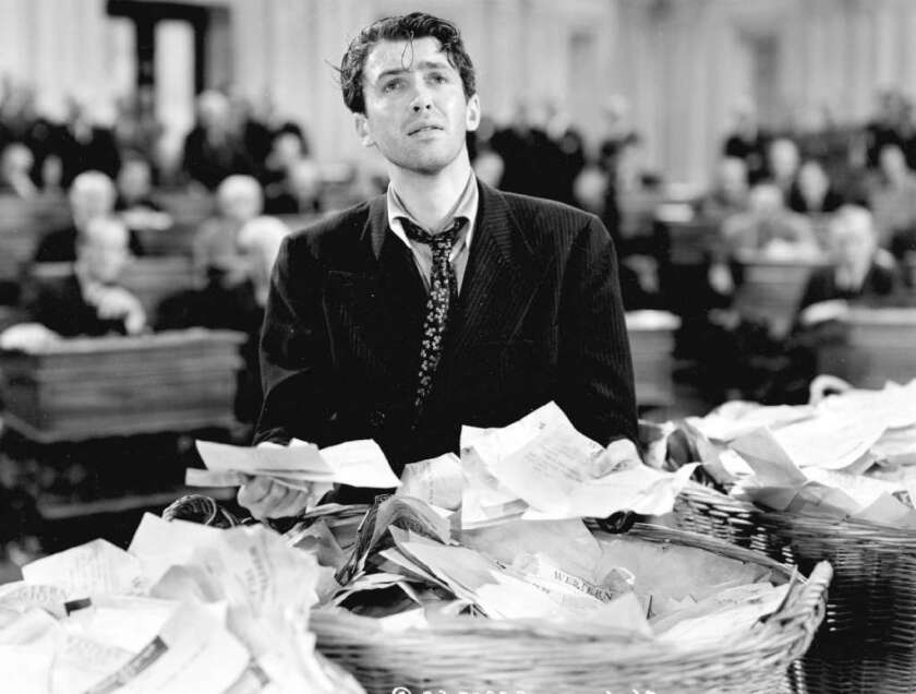 "Jimmy Stewart, as Sen. Jefferson Smith, conducted a filibuster that left him staggering in the 1939 film ""Mr. Smith Goes to Washington."""