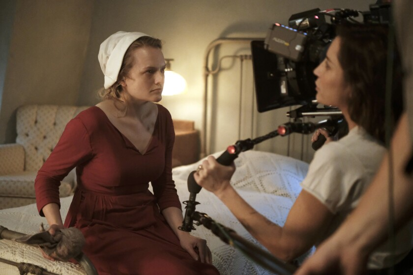 Director Reed Morano gets up close and personal with Elisabeth Moss.