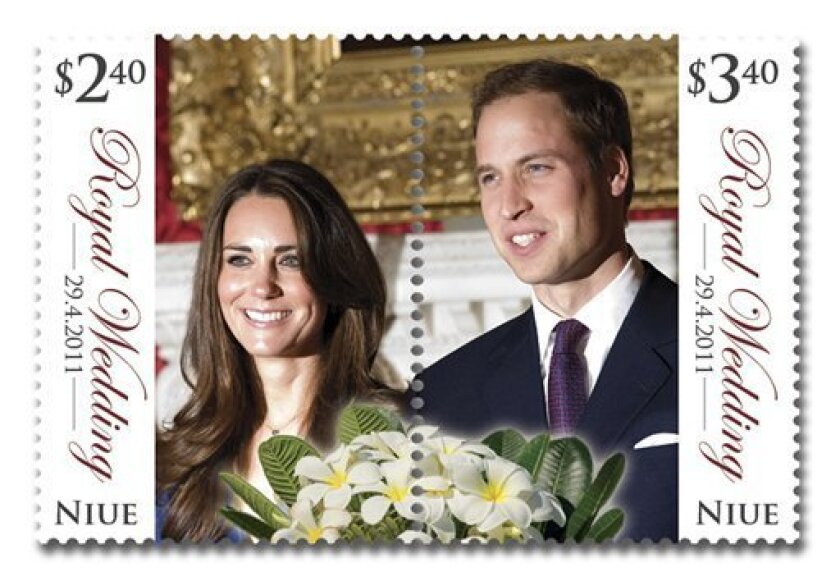 In this undated image provided by the New Zealand Post Group Tuesday, April 5, 2011, a stamp is shown with an image of Prince William and Kate Middleton with perforations that split the couple down the middle. The Pacific nation of Niue has printed unusual commemorative stamps for Britain's royal wedding. (AP Photo/New Zealand Herald, New Zealand Post Group) NEW ZEALAND OUT, AUSTRALIA OUT, EDITORIAL USE ONLY