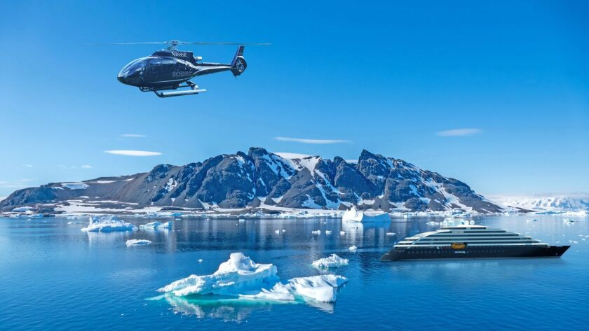 The Scenic Eclipse ship, shown here in a rendering, will have both helicopters and subs when it launches in January.