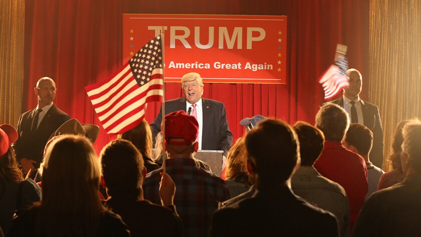 """Anthony Atamanuik in """"A President Show Documentary: The Fall of Donald Trump"""" on Comedy Central."""