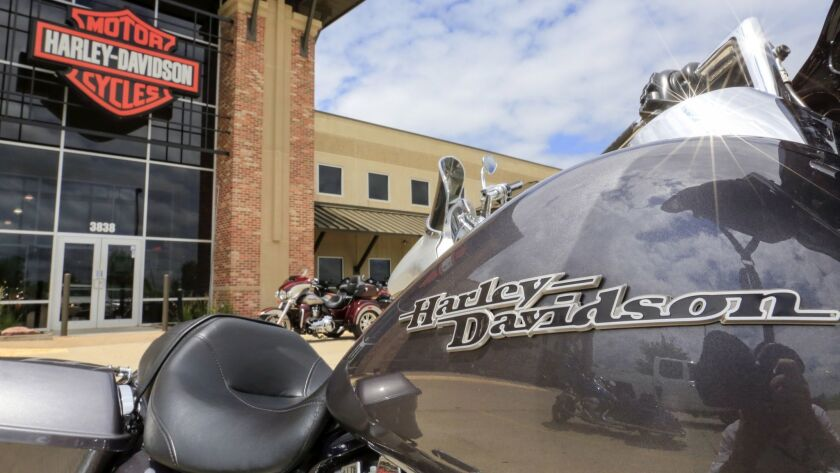 A Harley-Davidson motorcycle parked outside the Dillon Brothers Harley Davidson dealership in Omaha.