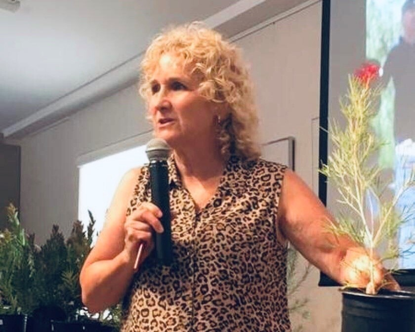 Nan Sterman, host of the KPBS-TV gardening show, 'A Growing Passion,' gives a presentation Aug. 3, 2019 at La Jolla Community Center.