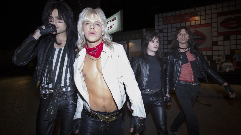 Netflix's Mötley Crüe biopic tells the story of how, from left, Nikki Sixx (Douglas Booth), Vince Neil (Daniel Webber), Mick Mars (Iwan Rheon) and Tommy Lee (Colson Baker, a.k.a. rapper Machine Gun Kelly) experienced life in 1980s-era Los Angeles.
