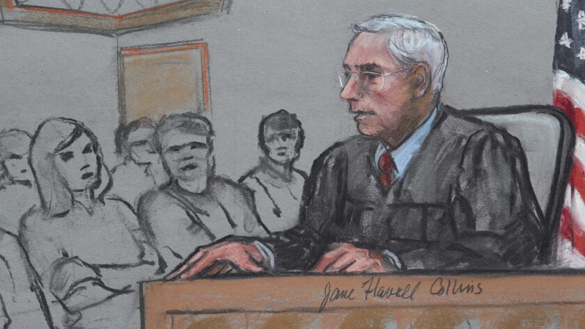 A courtroom sketch shows U.S. District Judge George O'Toole Jr. and jurors at Dzhokhar Tsarnaev's trial in Boston on April 8.