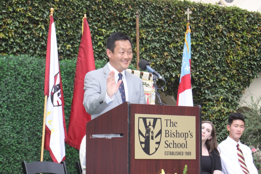 The new Head of Bishop's School, Ron Kim, greets students during his installation and student matriculation ceremony, Aug. 21