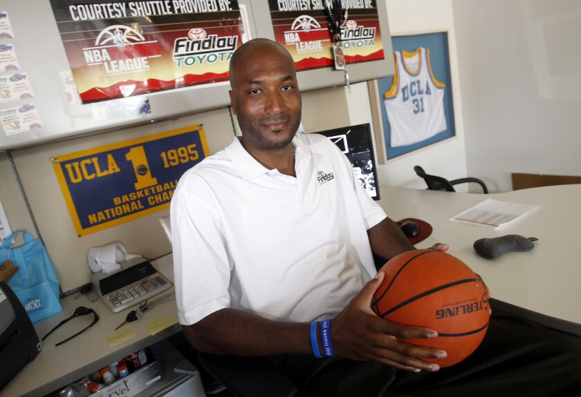 Former UCLA basketball star Ed O'Bannon in his office in Henderson, Nev., in 2010. A federal judge ruled in O'Bannon's favor Friday in a landmark suit against the NCAA over its amateurism rules.