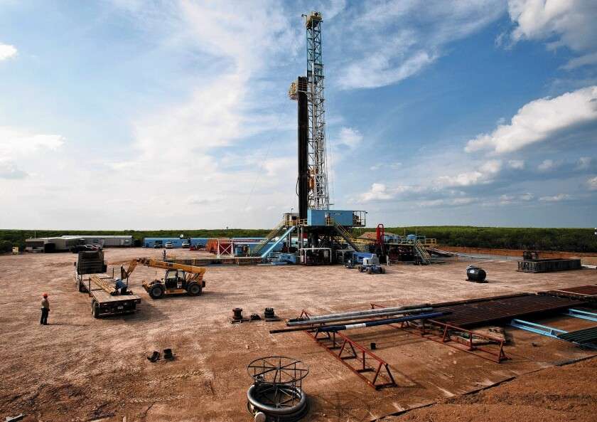 A rig drills for oil and gas in south Texas' Eagle Ford shale, a rich sedimentary rock formation 50 miles wide and 400 miles long.