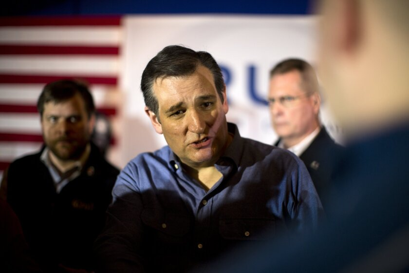 Republican presidential candidate Ted Cruz at a campaign stop Jan. 20 in Hollis, N.H.