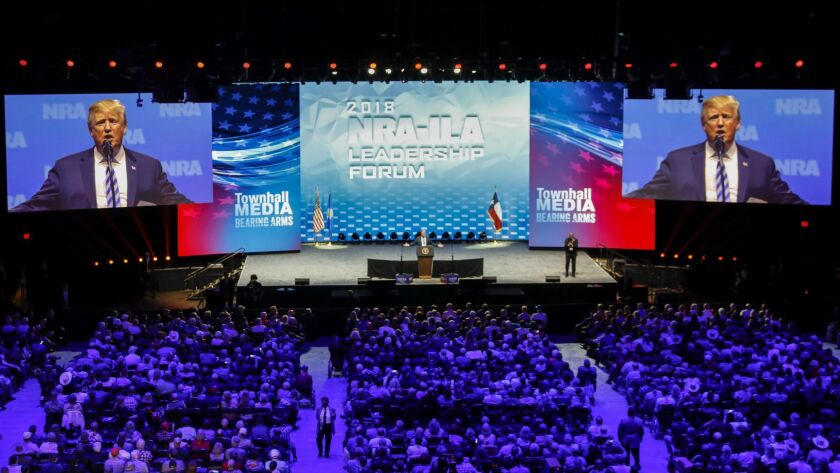 DALLAS,TX --FRIDAY, MAY 04, 2018--U.S. President Donald J. Trump speaks at the NRA-ILA Leadership Fo