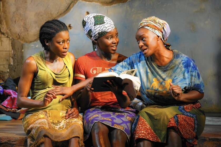 """Pascale Armand, left, Lupita Nyong'o and Saycon Sengbloh in Danai Gurira's """"Eclipsed,"""", directed by Liesl Tommy."""