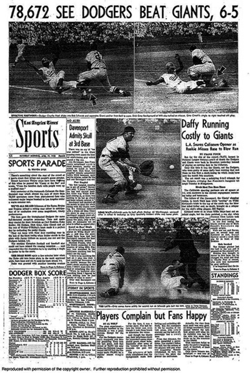 The Sports page of the Los Angeles Times on April 19, 1958.
