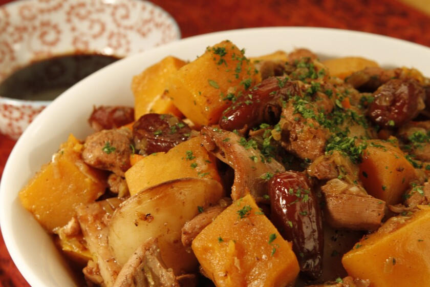 The Chicken Tzimmes is a stew with sweet vegetables and dates. Recipe: Chicken Tzimmes with dates