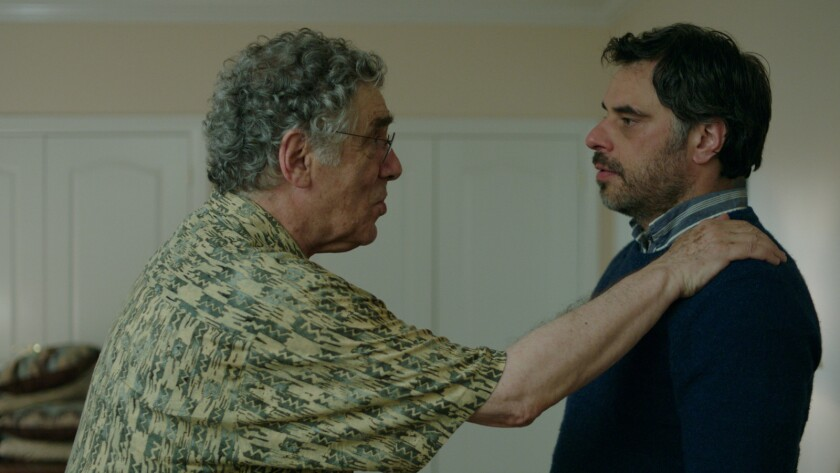 "(L-R) - Elliott Gould and Jemaine Clement in a scene from the movie ""Humor Me."" Credit: Shout! Studi"