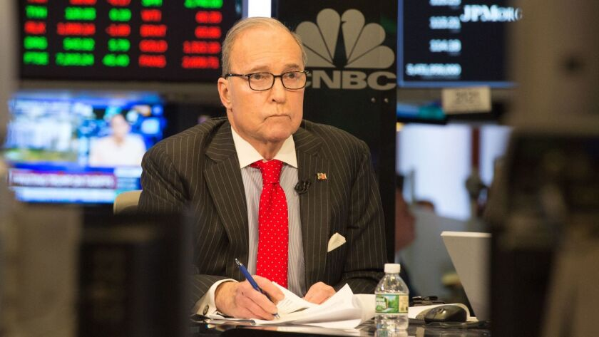 Conservative commentator and economic analyst Larry Kudlow on a CNBC set in New York on March 8.