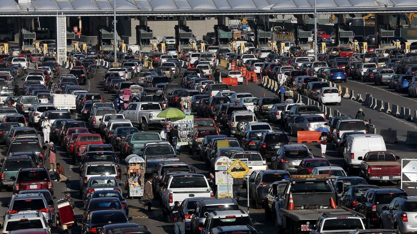 Cars wait in line to enter the United States at the San Ysidro Port of Entry.