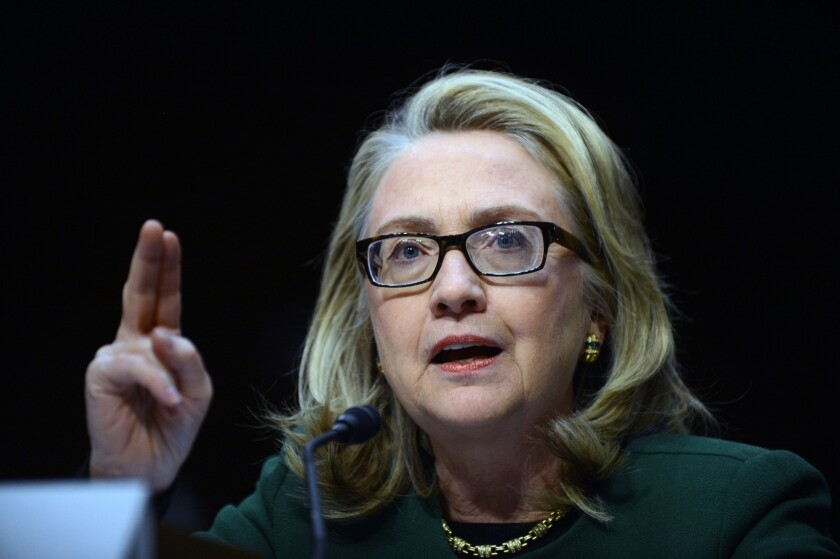 Former Secretary of State Hillary Clinton testifies before the Senate in 2013 in glasses that spawned a critique of her health by Republican strategist Karl Rove.