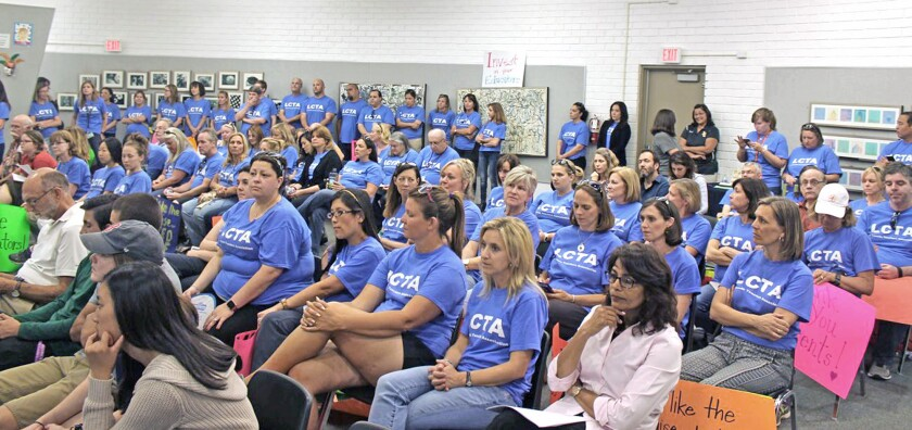 La Cañada Teachers Assn. members filled the school board meeting on April 19, 2016 as contract talks heat up.