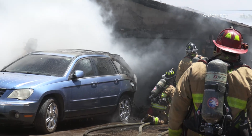 Firefighters responded to a garage fire in Chollas View on Wednesday afternoon.
