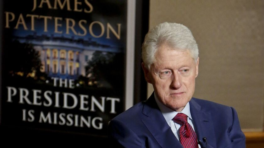 """Former President Bill Clinton during an interview in New York about """"The President is Missing,"""" a novel he wrote with James Patterson."""