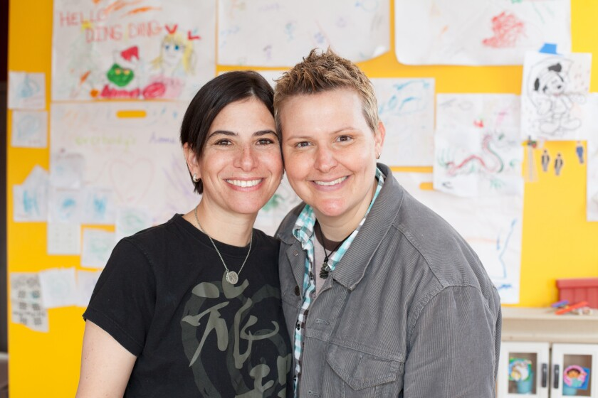 A federal appellate court ordered the state of Indiana to recognize the marriage of Amy Sandler, left, and Niki Quasney despite a decision last week to suspend gay marriages in Indiana.