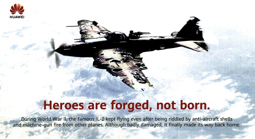 Huawei poster showing a damaged Russian warplane