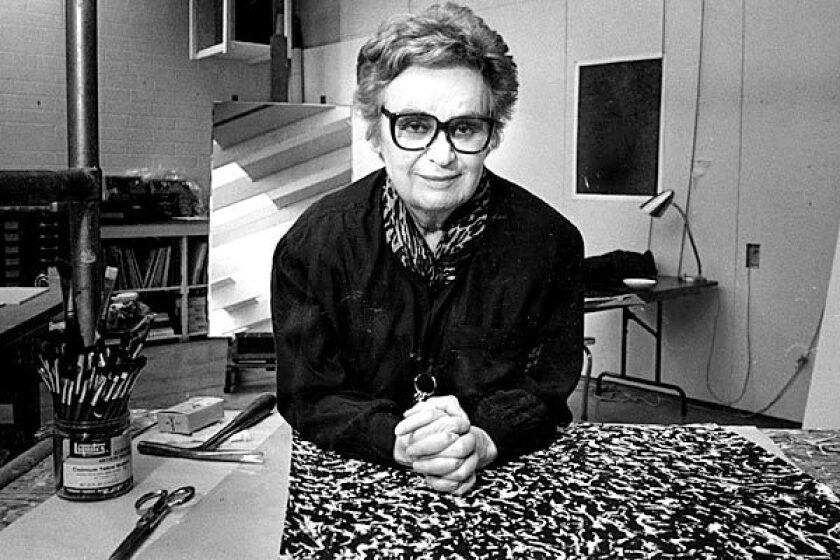 Artist June Wayne in her Hollywood studio in 1989. See obituary