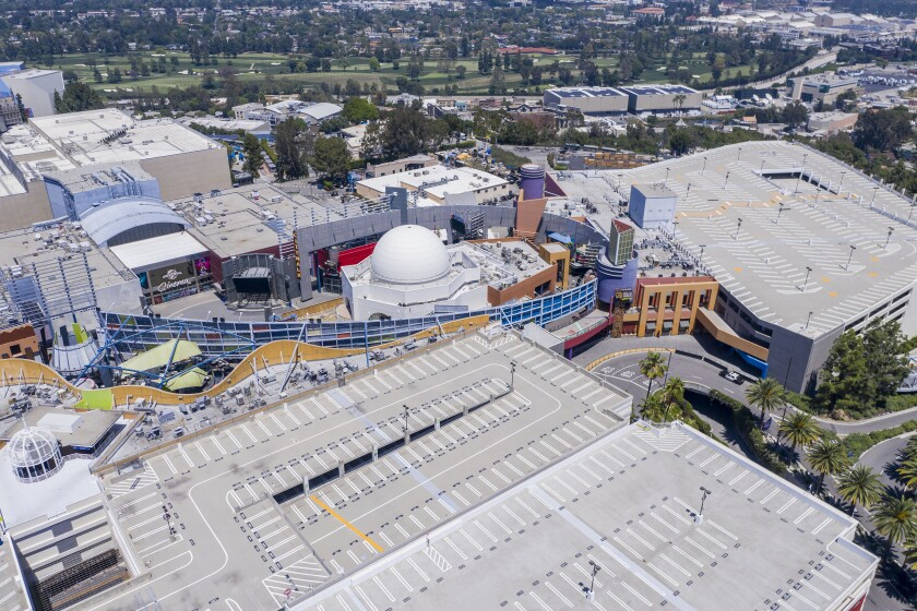 Drone images of Universal Studios Hollywood show empty parking garages April 28. Los Angeles is forecast to lose 22 million visitors and $13 billion in spending because of the coronavirus outbreak.