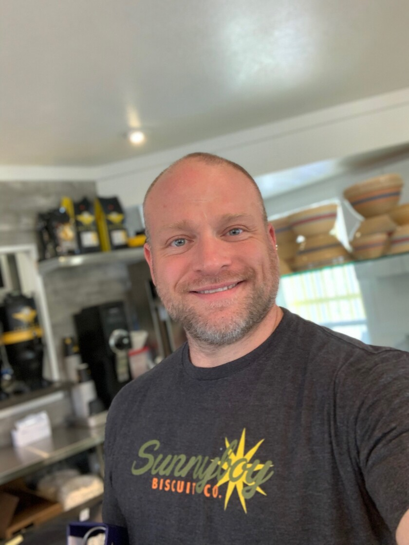 Chef/owner Gabriel Ferguson inside his newly opened Sunnyboy Biscuit Co. in Hillcrest, which is thriving despite having opened the same day the county shuttered all restaurant dining rooms due to COVID-19.