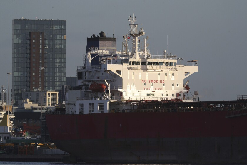 The Nave Andromeda oil tanker docked Monday in Southampton, England.