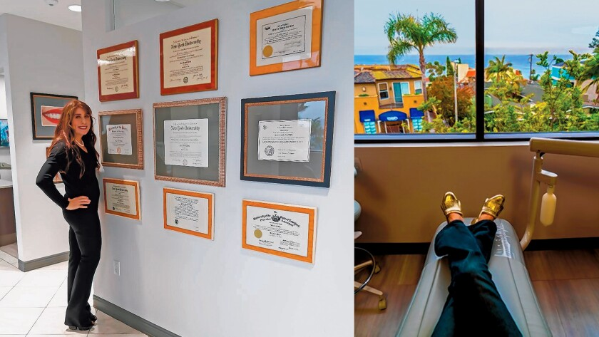 LEFT: Tracy Taddey, D.D.S. RIGHT: A view from the 'chair' at Taddey dental offices in La Jolla. Tracy Taddey, D.D.S. and John Taddey, D.D.S., 875 Prospect St., Suite 301. (858) 454-9333. lajolladentist.com