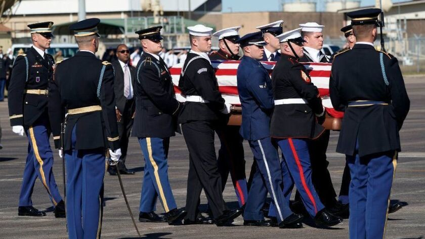 Departure Ceremony Held As Body Of President Bush Flown To Washington DC