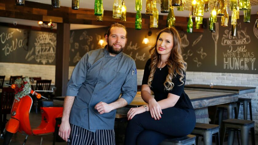 Chef Marco Provino and his wife Karina Kravalis recently opened Giardino Neighborhood Cucina in Lemon Grove. The couple, who also live in Lemon Grove, remodeled the space themselves, designing and building almost everything, including the tables and light fixtures.