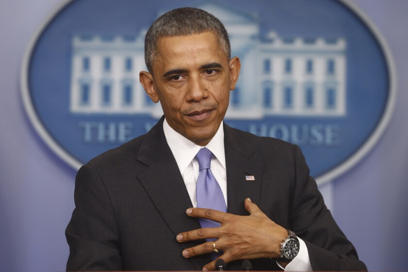 President Obama speaks about his signature healthcare law on Thursday.