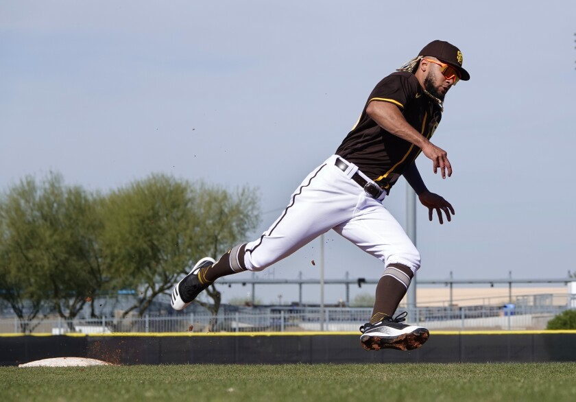 Padres shortstop Fernando Tatis. Jr. runs the bases during a spring training workout in February.