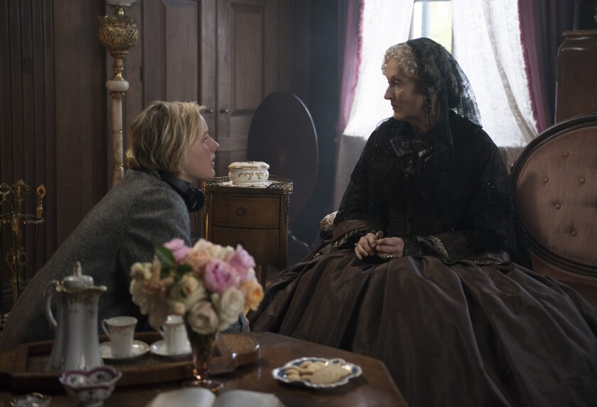 "Writer-director Greta Gerwig (left) is shown with actress Meryl Streep on the set of ""Little Women."" Gerwig's 2019 film was nominated for six Academy Awards, but Gerwig was not nominated for best director."