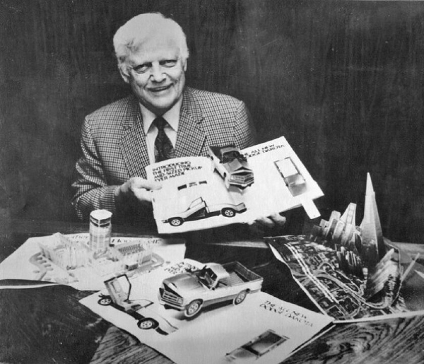 """Waldo Hunt displays some of his company's pop-up ads. """"Wally was a truly gregarious guru,"""" said paper engineer David A. Carter. """"He was a walking party, and he took care of business too."""""""