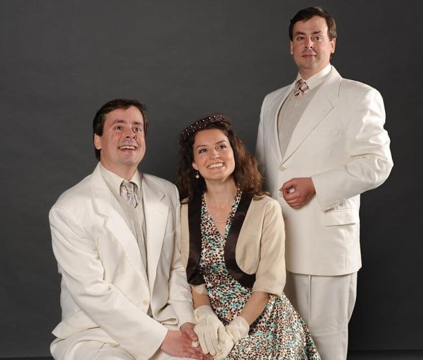 """Moonlighrt Theatre's play """"Ring Around the Moon"""" stars (L-R), Howard Bickel, Mary Bogh and Howard Bickel."""